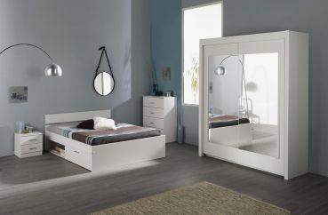 Schlafzimmer Linus X - 4tlg. Weiß #Möbel #weiß #Schlafzimmer #Bett #Kommode #Nachttisch #Kleiderschrank #Schwebetüren