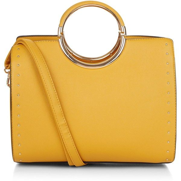 New Look Yellow Structured Metal Handle Tote Bag ($35) ❤ liked on Polyvore featuring bags, handbags, tote bags, studded purse, yellow tote, studded tote bag, structured tote bag and structured purse