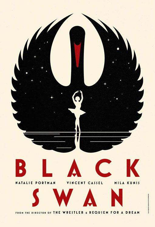 Beautiful art-deco inspired poster for the newest Darren Aronofsky movie, Black Swan.
