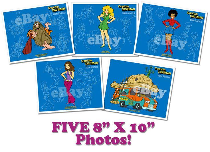 Rare! Set of 5 CAPTAIN CAVEMAN Cartoon Color Photos HANNA BARBERA Studios