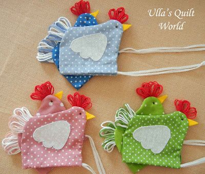 Chicken pouches with drawstring closure - tutorial and template