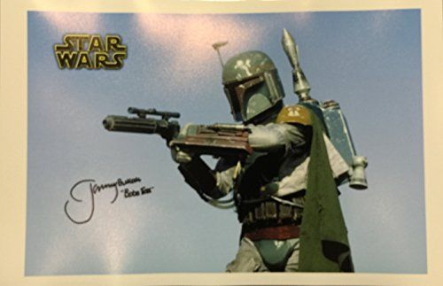 Star Wars Boba Fett Actor Jeremy Bulloch SIGNED 11x17 Photograph Blue Sky Pointing gun @ niftywarehouse.com #NiftyWarehouse #Geek #Products #StarWars #Movies #Film
