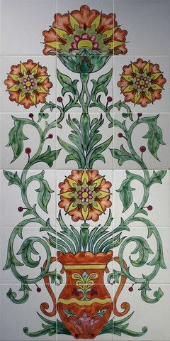 Mexican Style Mural - Flores Fantastico - Mexican Tile Designs