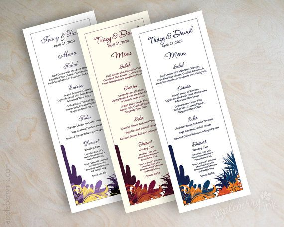 Wedding menu cards, printable wedding menus, diy wedding menus, wedding reception menu, tower menus, tea length menu, desert, cactus, Nevena on Etsy, $25.00