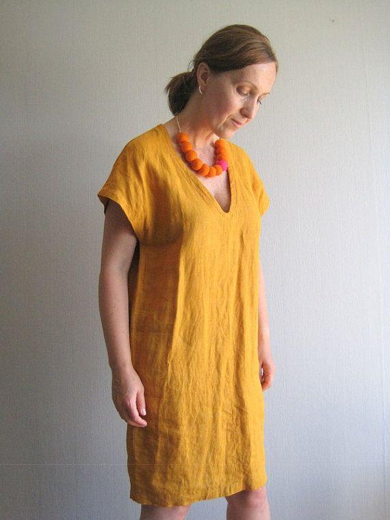 Linen Dress Linen Tunic Linen Clothing Loose Dress by woolpleasure