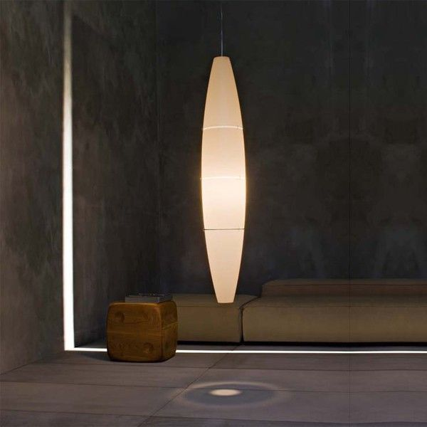 #Suspension #lamp with an elliptical shape with #diffuser in #satin-finish #polyethylene. #light #design lighting design