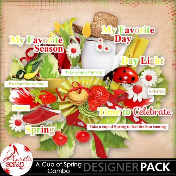 """Kit """"A Cup Of Spring"""" by Aurélie Scrap. Welcome spring in this gourmand kit... A spring anthem. It contains : 10 papers 70 elements & 5 words-bit & 5 words-art"""