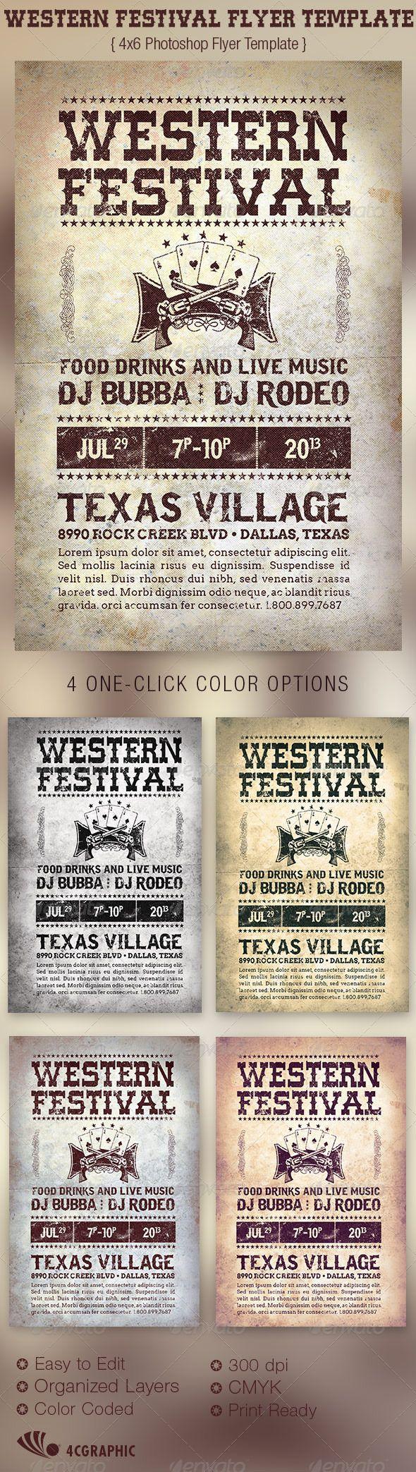 Western Festival Flyer Template  Luncheon Flyer Template