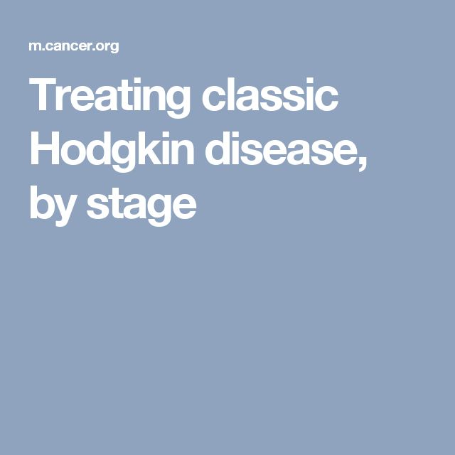 Treating classic Hodgkin disease, by stage