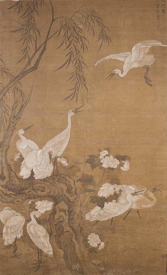 Czaple przy wierzbie, Atrybucja tradycyjna Tu Bing (1770–1824) #birds #ptaki #kolekcjaMNK #MNKcollection #kolekcja