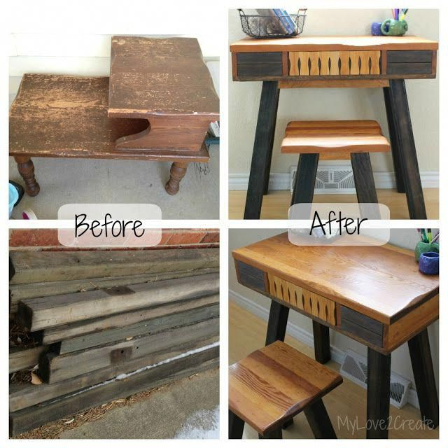 Pretty interesting recycle project: old end table, lots of spare wood and paint …