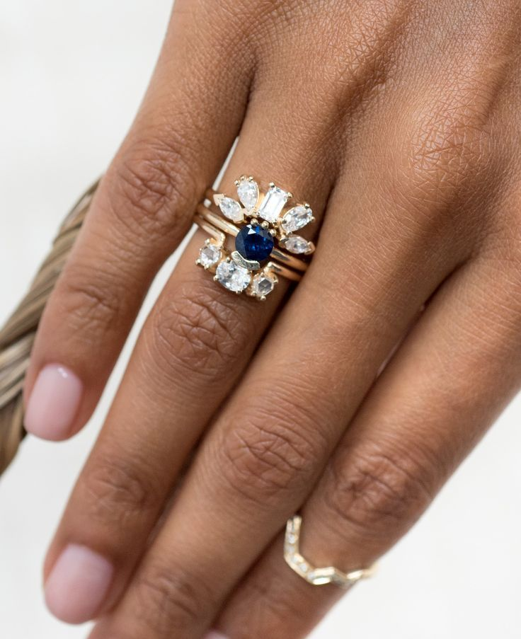 Sapphire stacked engagement ring with diamond wedding bands by Bario Neal for th...