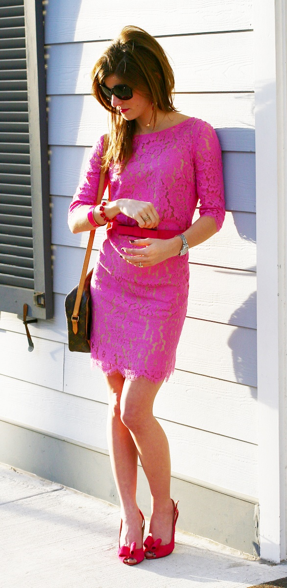 Pink on pink.: 3 4 Sleeve, Pink Dresses, Pretty In Pink, Lace Sleeves, Pink Lace Dresses, Lace Sleeve Dresses, Lace Dresses 3/4 Sleeve Colors, Lace 3 4, Work Dresses
