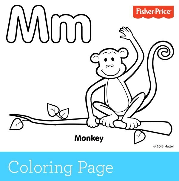 m for monkey coloring pages - photo #12