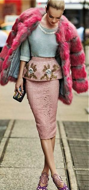 Pastel meets luxury with this faux fur, embellished, pink peplum look. | Click to see more pastel pink skirts on ShopStyle.com
