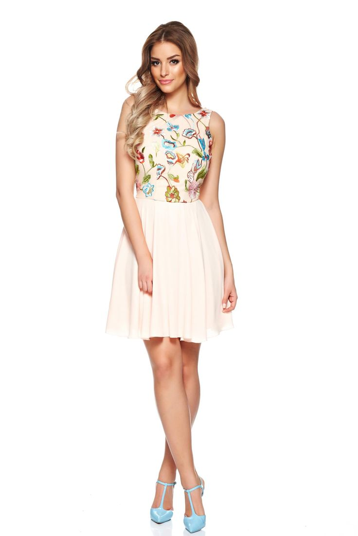 LaDonna Spring Fashion Peach Dress, embroidery details, back zipper fastening, inside lining, airy fabric, voile fabric