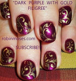 purple and gold filigree nail art tutorial nails elegant  http://www.youtube.com/watch?v=hSLa74DrFGs