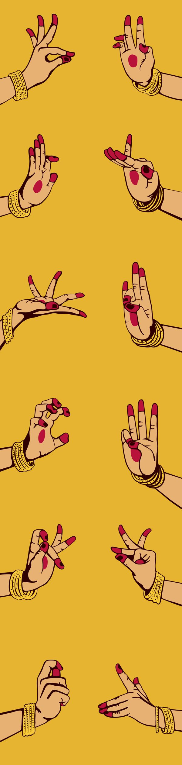 LivingArt Diary 2012 by Impprintz, via Behance Set of 12 illustrated mudras