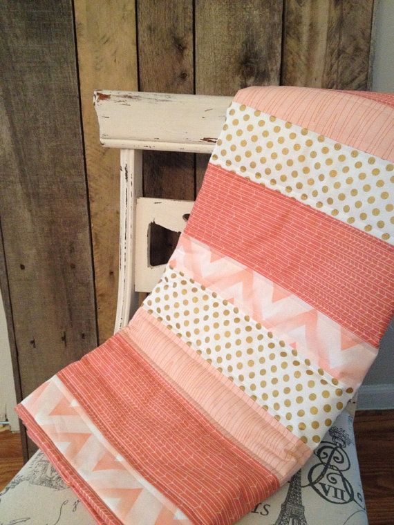 Hey, I found this really awesome Etsy listing at https://www.etsy.com/listing/178585102/coral-baubles-baby-quilt-coral-gold