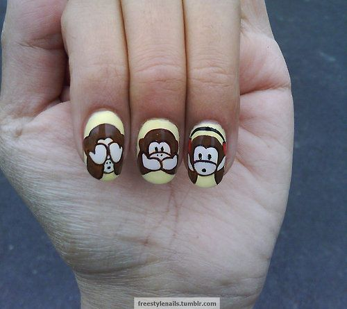 Nails - see no evil, speak no evil and hear no evil monkey nails!