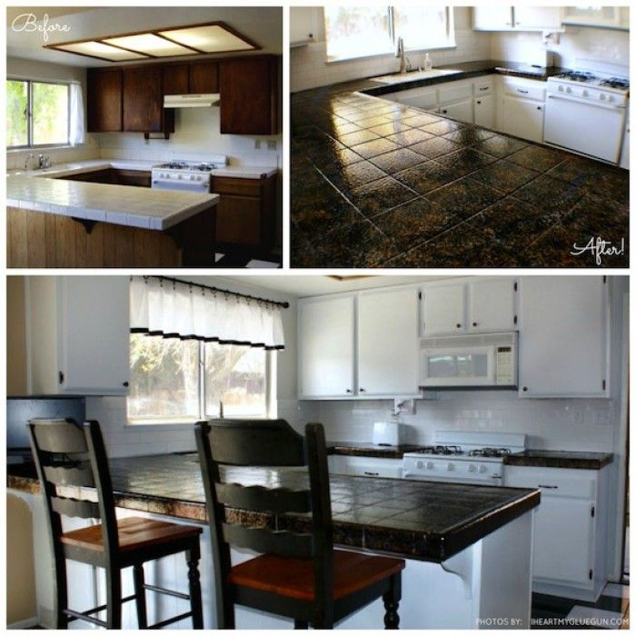 Countertop Paint Before And After : Before and after photos of a countertop transformed using Giani ...