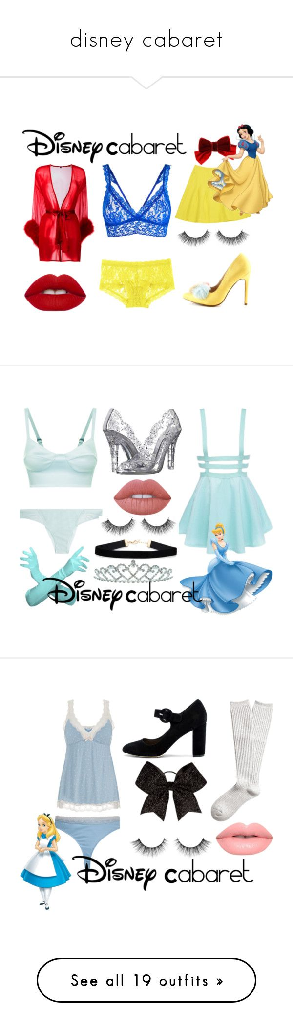 """disney cabaret"" by peppermint-x ❤ liked on Polyvore featuring Hanky Panky, Marni, Gilda & Pearl, Clips, Cape Robbin, Disney, Lime Crime, La Perla, Dolce&Gabbana and Kate Marie"