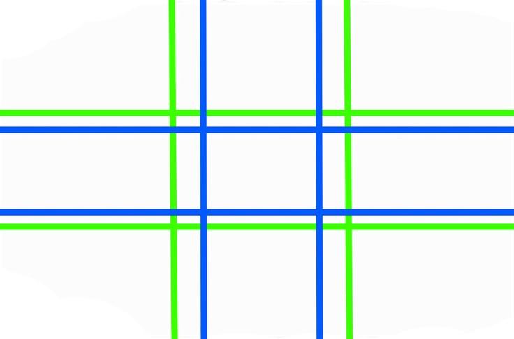 Notlösung: Anstatt des Goldenen Schnitts (Blau) kann auch die sehr viel praktikablere Drittel-Regel (Grün) angewandt werden.