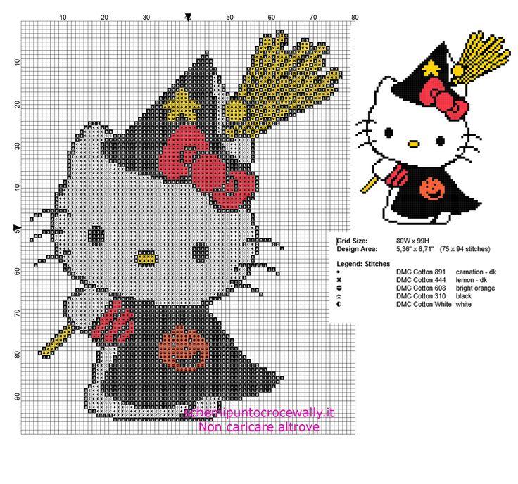 Schema punto croce Hello Kitty Strega di Halloween