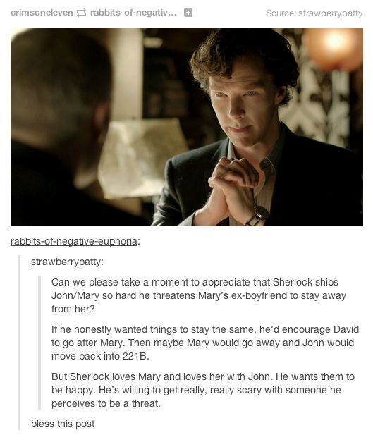 Basically, Sherlock has an OTP.  I smell character development.  Loved this scene, love this element in his character.