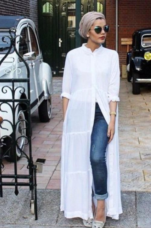 long white cardigan turban look, Modest street hijab fashion - shirt dress - http://www.justtrendygirls.com/modest-street-hijab-fashion/ #HijabFashion