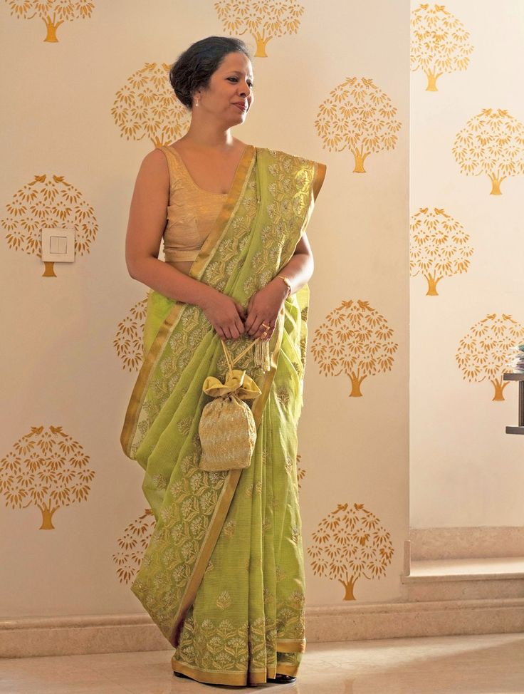 Buy Lime Green Golden Silver Handwoven Sequined Kota Tissue Saree with Real Zari by Vidhi Singhania the cabal Luxurious Sarees Online at Jaypore.com