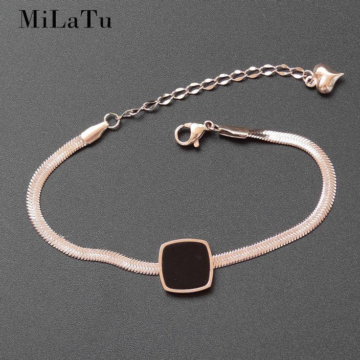 MiLaTu Tide Black Square Promise Bracelet For Women Rose Gold Color Stainless Steel Snake Chain Bracelet B481 #Affiliate