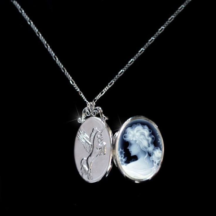 Sterling Silver 925 Photo Locket Pendant Natural Agate Genuine GODDESS OF PURITY