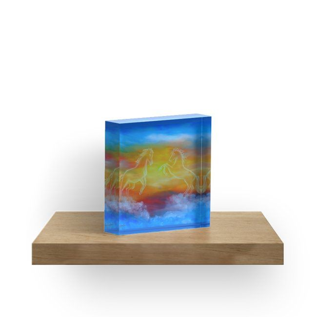 acrylic block, home,office,accessories,decor,ideas,horses,wild animals, sunset,sky,fantasy,magical,majestic,blue,colorful,impressive,items,design,cool,beautiful,fancy,unique,trendy,artistic,awesome,fahionable,unusual,gifts,presents,ideas,for sale,redbubble