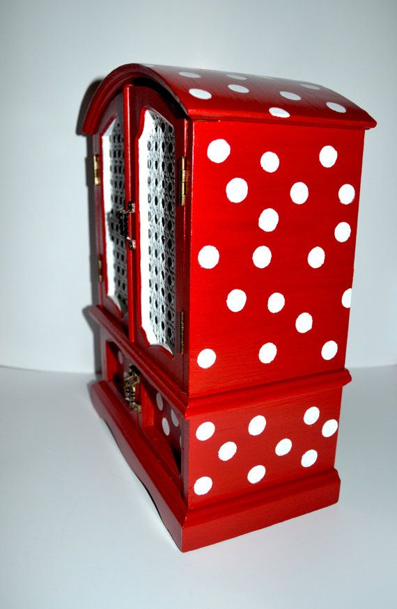 Hand painted vintage jewelry box red and white polka dot for Minnie mouse jewelry box