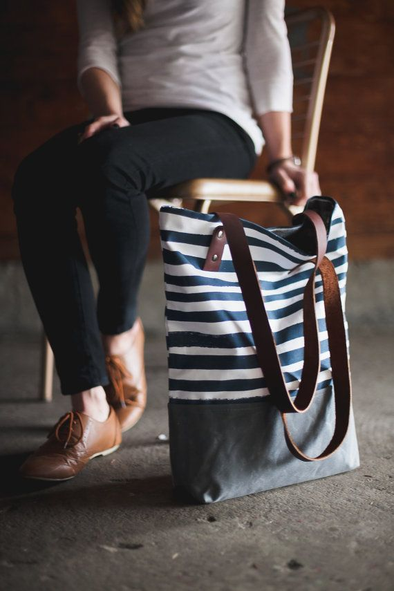 Navy Stripe Tote by londontierney on Etsy, $109.00