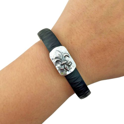 Charm to Accessorize the Vivosmart, Fitbit Flex, Xiaomi Mi and Jawbone Up - The FLEUR DE LIS Small Engraved Hammered Silver Charm to Dress Up Your Favorite Fitness Tracker by Funktional Wearables