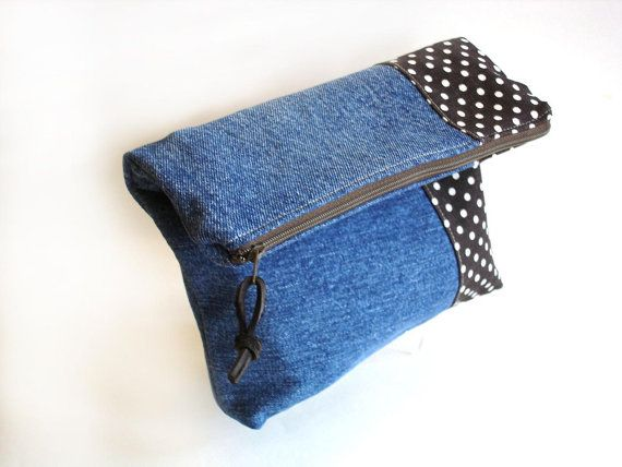 Denim clutch fold over purse. reclaimed recycled denim brown