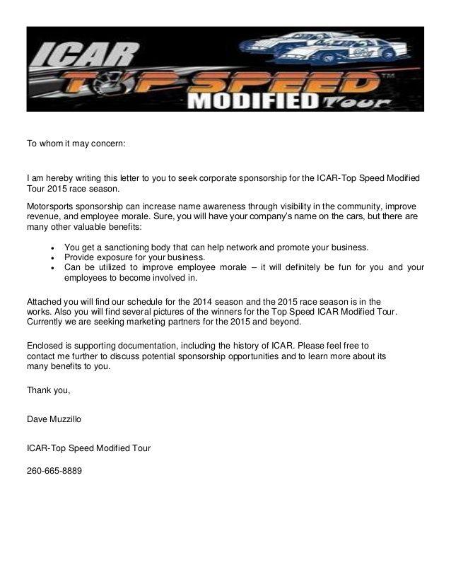 Race Car Sponsorship Template It Resume Cover Icar