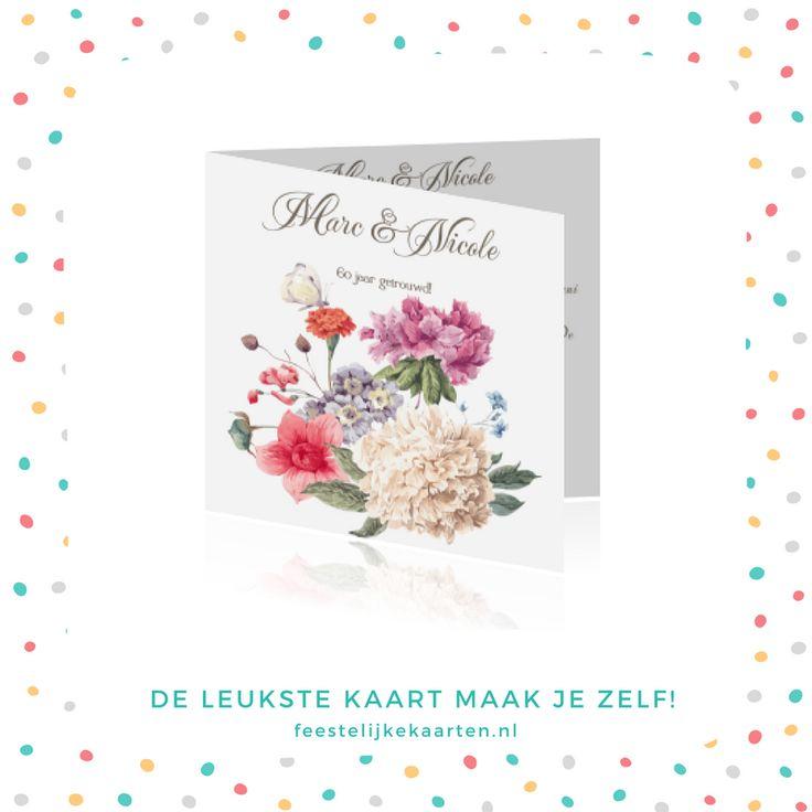 Stijlvolle jubileum uitnodigingen voor 60 jaar getrouwd met bloemen en vlinders. Een prachtige bloemenkaart voor uw jubileum. De achtergrondkleur kunt u zelf aanpassen.