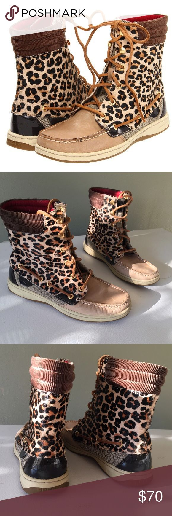 """Sperry Top-Sider Hikerfish Boots in Leopard Adorable high tops / boots / boat shoes from Sperry! Water and stain resistant. Leather. Gold hardware. About 7"""" tall. You can also roll them down for a different look! Red on the inside. Only worn a handful of times and still in great condition  Sperry Shoes Ankle Boots & Booties"""