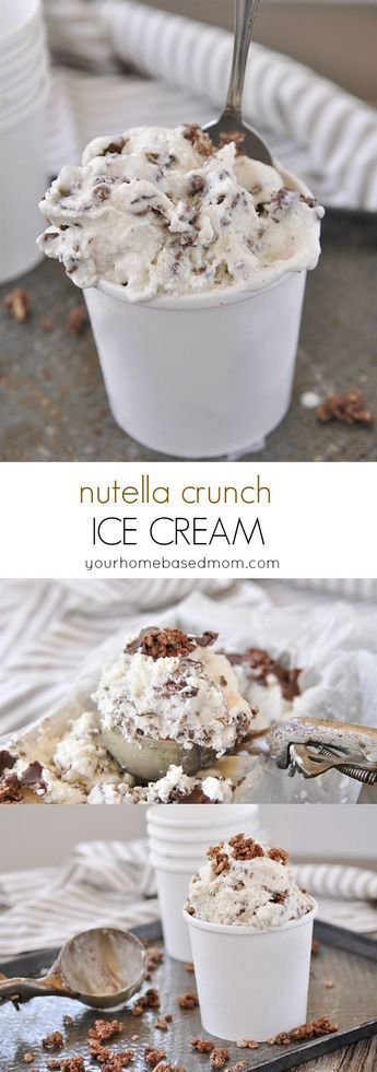Nutella Crunch Ice Cream Dessert Recipe - If Nutella alone doesn't make everything better than this Nutella Ice Cream will for sure!