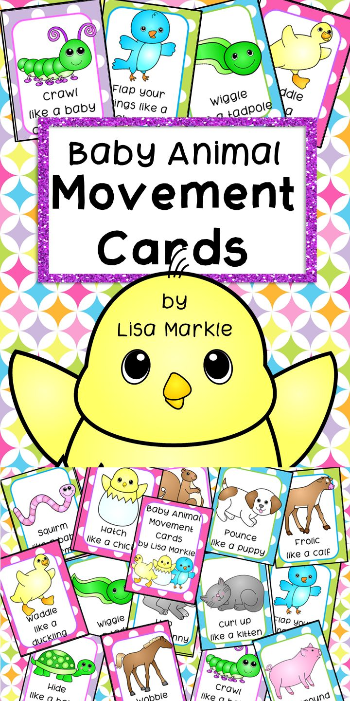 These baby animals themed movement cards will keep your students active while they're excited for the weather to warm up! Keep those excited little ones busy around the holidays and when it's too cold to go outside! All while teaching them about different actions, animal names and improving their gross motor skills! Print and cut these out, laminate them and keep them all together on a metal ring. Put on some music and let your kids dance!