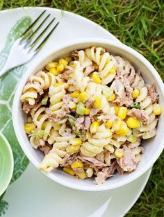Tuna & sweetcorn pasta salad made with cucumber & spring onion. #TriedForLess thanks to #TescoOrchard