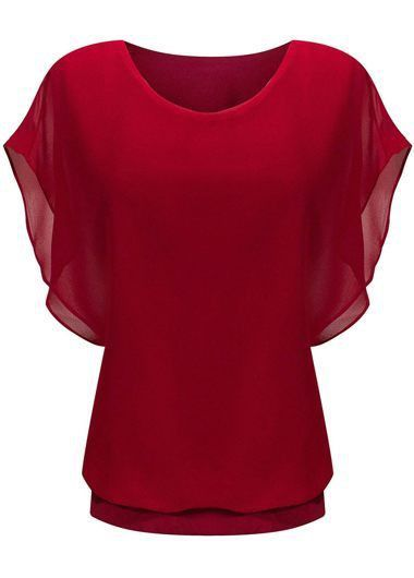 Wine Red Butterfly Sleeve Band Waist Chiffon Top Sale On www.lulugal.com, $27.02, Free Shipping!