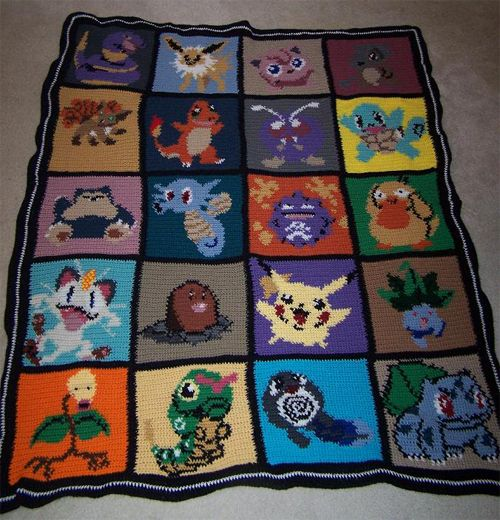 Crocheted Pokemon blanket