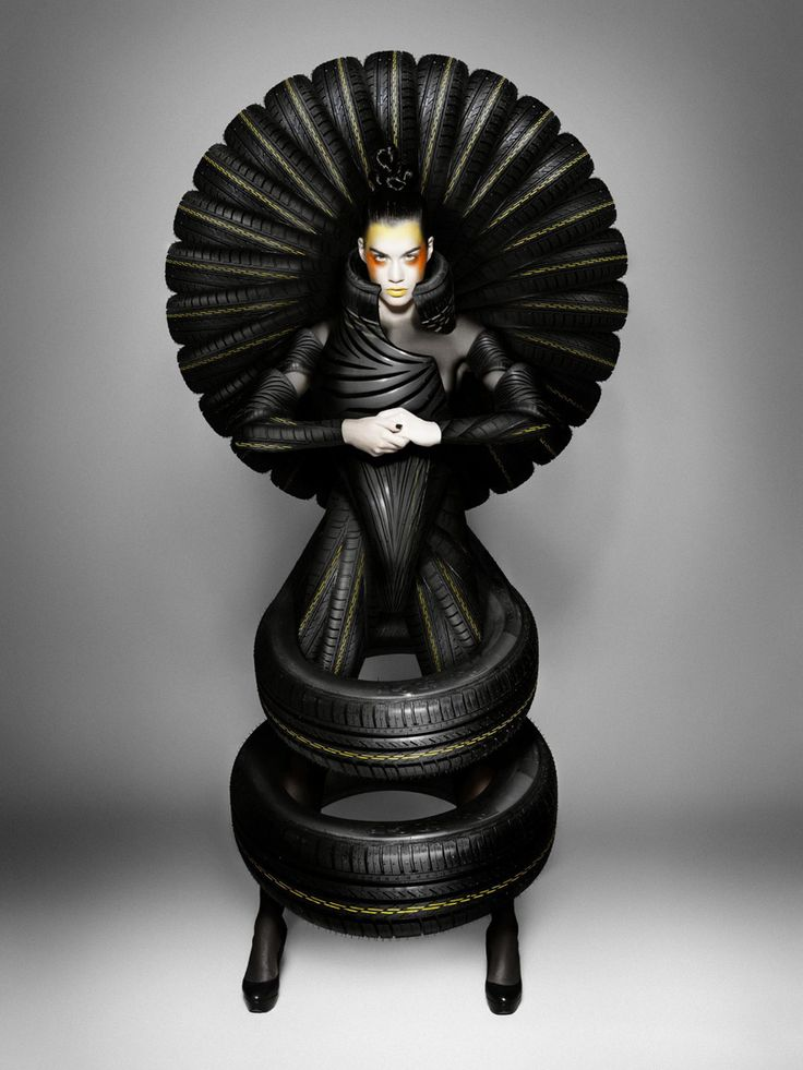 A tire peacock anyone? High fashion for Goodyear Dunlop tires by Carl Elkins.