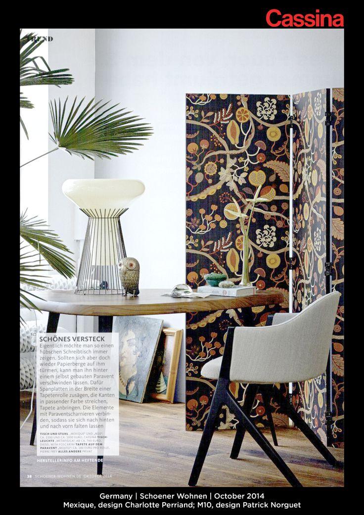 Germany | Schoener Wohnen | October 2014 | Mexique, design Charlotte Perriand; M10, design Patrick Norguet | Discover more on:http://cassina.com/it/collezione/sedie-e-poltroncine/397-m10