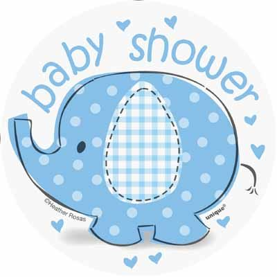 Umbrellaphants Blue Mini Cutouts for an elephant boy baby shower