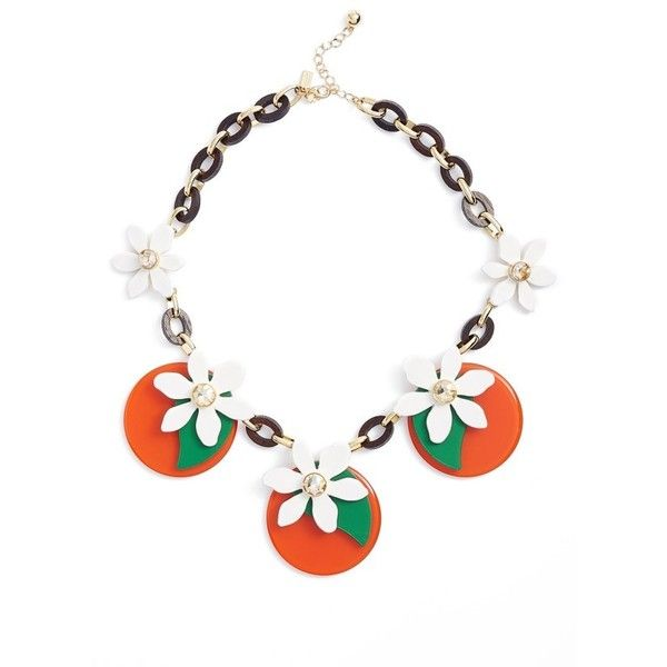 Women's Kate Spade New York Citrus Crush Statement Necklace ($149) ❤ liked on Polyvore featuring jewelry, necklaces, orange multi, kate spade, statement bib necklace, polish jewelry, kate spade jewelry and orange jewelry